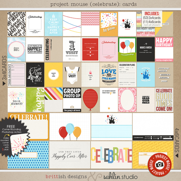 Project Mouse (Celebrate): Journal Cards - Perfect for digital or printable scrapbooking or Project Life or Disney Project Mouse albums!! Document your birthday, anniversary, you or your baby's first visit to Disney!!