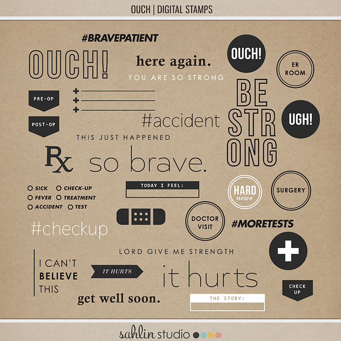 Ouch (Digital Stamps) by Sahlin Studio - Perfect for your Project Life or traditional or digital scrapbooking layouts for Doctors Visits, Surgery, Sick Days, Cancer and many more OUCH moments!!
