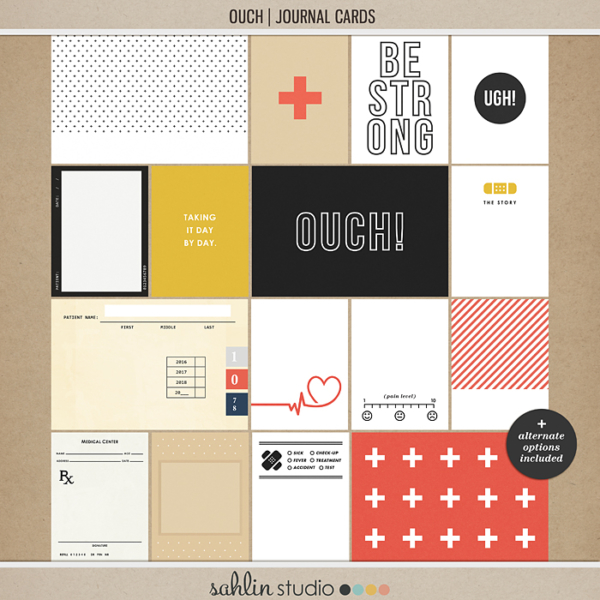 Ouch (Journal Cards) by Sahlin Studio - Perfect for your Project Life or traditional or digital scrapbooking layouts for Doctors Visits, Surgery, Sick Days, Cancer and many more OUCH moments!!