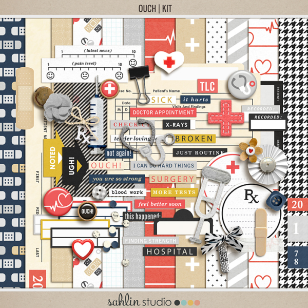 Ouch (Kit) by Sahlin Studio - Perfect for your Project Life or traditional or digital scrapbooking layouts for Doctors Visits, Surgery, Sick Days, Cancer and many more OUCH moments!!