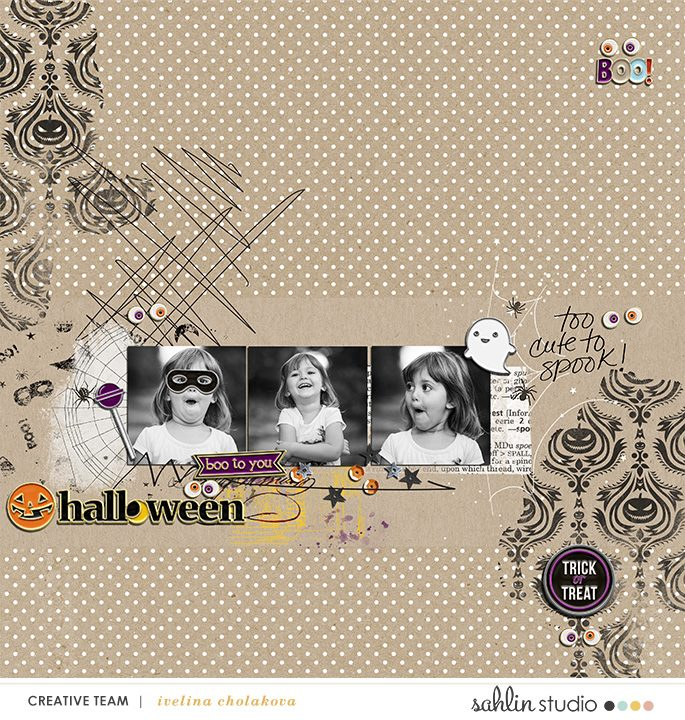 Digital scrapbooking page using Project Mouse (Halloween): Artsy & Pins by Britt-ish Designs and Sahlin Studio