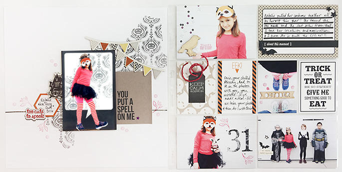 Hybrid project life double page using Project Mouse (Halloween): Artsy & Pins by Britt-ish Designs and Sahlin Studio