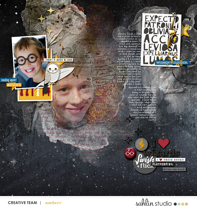 I love Harry Potter Books!! Digital scrapbooking page using Project Mouse (Wizarding) by Britt-ish Designs and Sahlin Studio