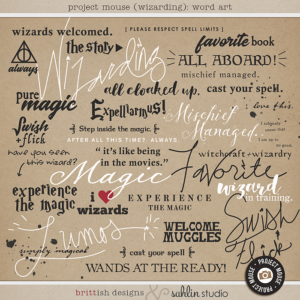 Project Mouse (Wizarding): Word Art by Britt-ish Designs and Sahlin Studio - Perfect for your Universal Studios or Harry Potter Wizarding World vacation digital scrapbooking layouts or Project Life albums!!