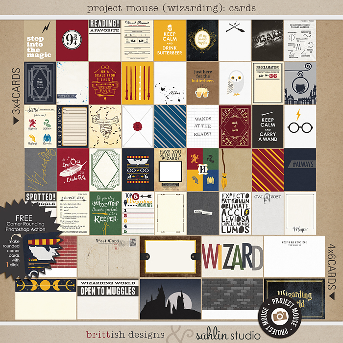 Project Mouse (Wizarding): Journal Cards by Britt-ish Designs and Sahlin Studio - Perfect for your Universal Studios or Harry Potter Wizarding World vacation digital scrapbooking layouts or Project Life albums!!