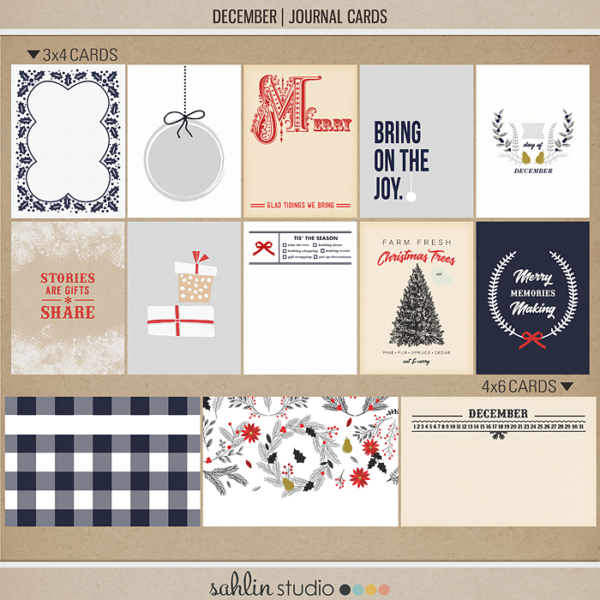 December | Journal Cards by Sahlin Studio - Perfect for Documenting Your December or December Daily album!!