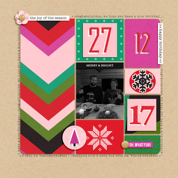 December Birthday by Vrielinkie: winner of the Featured Kit Challenge with Making Spirits Bright by Sahlin Studio