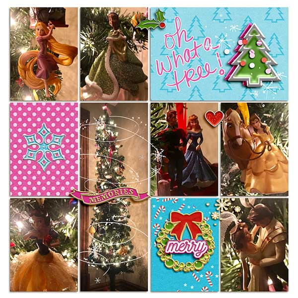 Christmas Tree Ornaments Oh What a Tree!! digital Project Life scrapbooking layout using Project Mouse (Christmas) Pins + Artsy collection by Britt-ish Designs and Sahlin Studio
