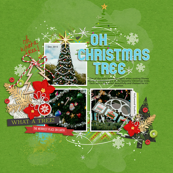 Oh Christmas Tree Disney digital scrapbooking layout using Project Mouse (Christmas) Pins + Artsy collection by Britt-ish Designs and Sahlin Studio