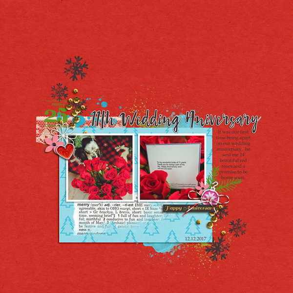 Winter Wedding Anniversary digital scrapbooking layout using Project Mouse (Christmas) Pins + Artsy collection by Britt-ish Designs and Sahlin Studio
