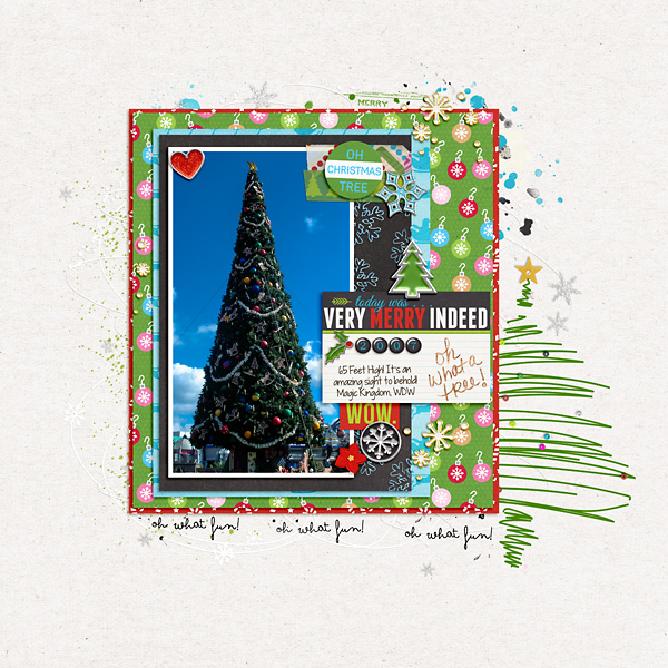 Christmas Tree Very Merry digital scrapbooking layout using Project Mouse (Christmas) Pins + Artsy collection by Britt-ish Designs and Sahlin Studio