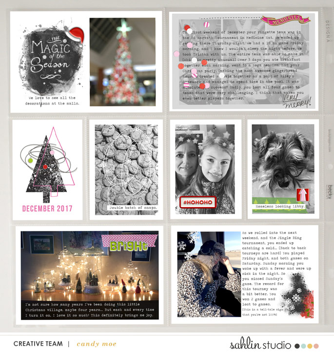 Magic of the Season Project Life Christmas digital scrapbooking layout using Project Mouse (Christmas) Pins + Artsy collection by Britt-ish Designs and Sahlin Studio
