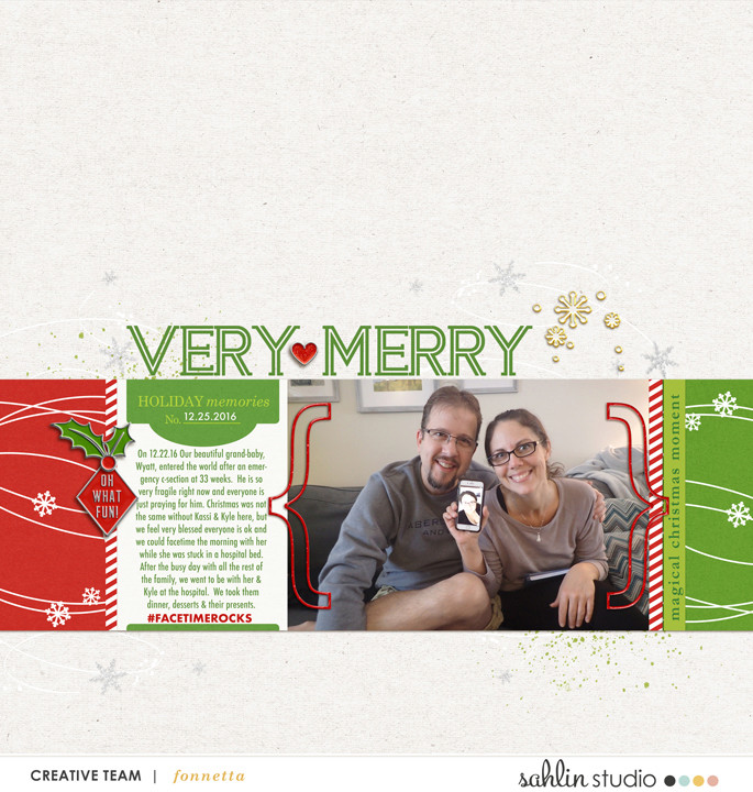 Very Merry Christmas digital scrapbooking layout using Project Mouse (Christmas) Pins + Artsy collection by Britt-ish Designs and Sahlin Studio