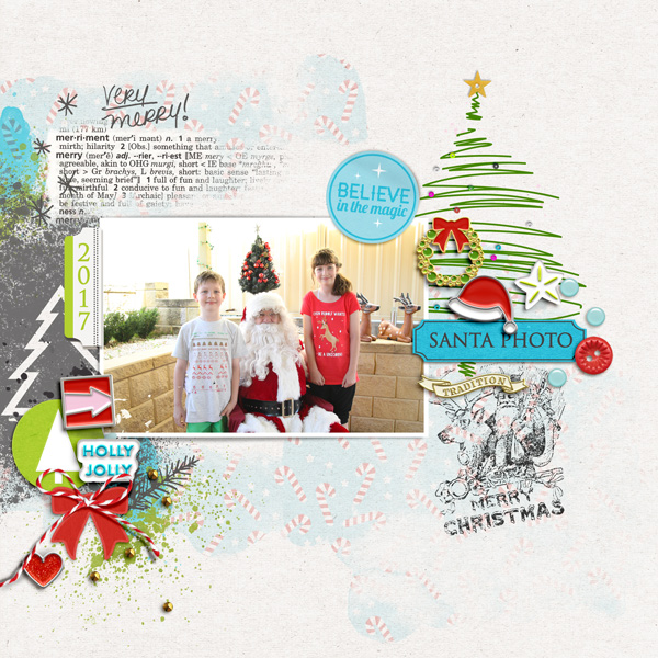 Very Merry Christmas Santa digital scrapbooking layout using Project Mouse (Christmas) Pins + Artsy collection by Britt-ish Designs and Sahlin Studio