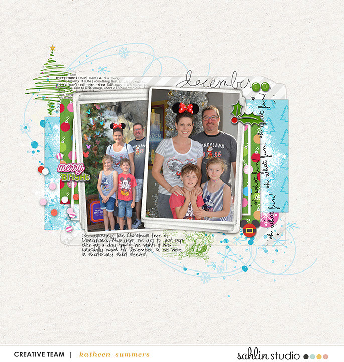 December Oh What Fun Disney Christmas digital scrapbooking layout using Project Mouse (Christmas) Pins + Artsy collection by Britt-ish Designs and Sahlin Studio
