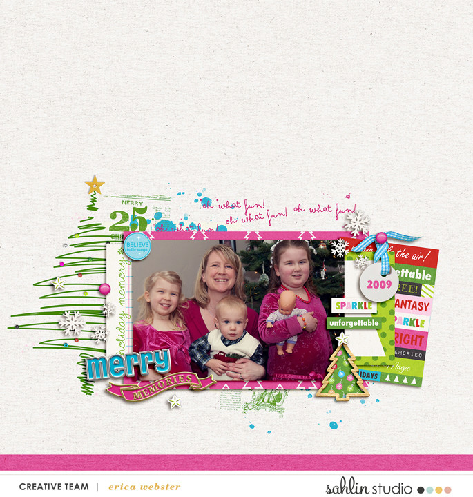 Merry Christmas Memories digital scrapbooking layout using Project Mouse (Christmas) Pins + Artsy collection by Britt-ish Designs and Sahlin Studio