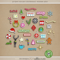 Project Mouse (Christmas): Enamel Pins by Britt-ish Designs and Sahlin Studio - Perfect for your digital scrapbooking, Project Life or Disney Project Mouse albums!!