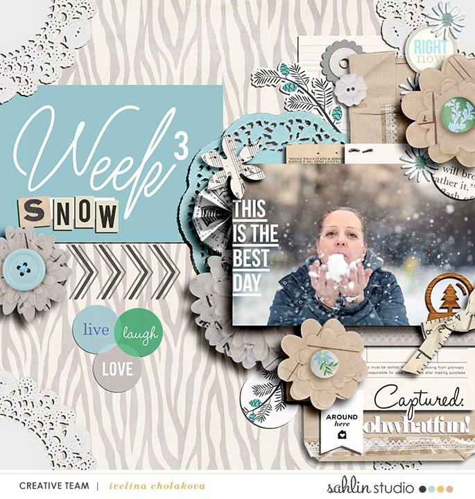 Week 3 digital scrapbooking page using Weekly Journal Calendar Cards by Sahlin Studio