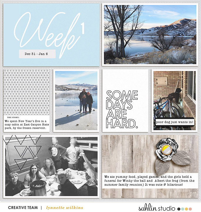 Week 1 Digital Project Life page using Weekly Journal Calendar Cards by Sahlin Studio