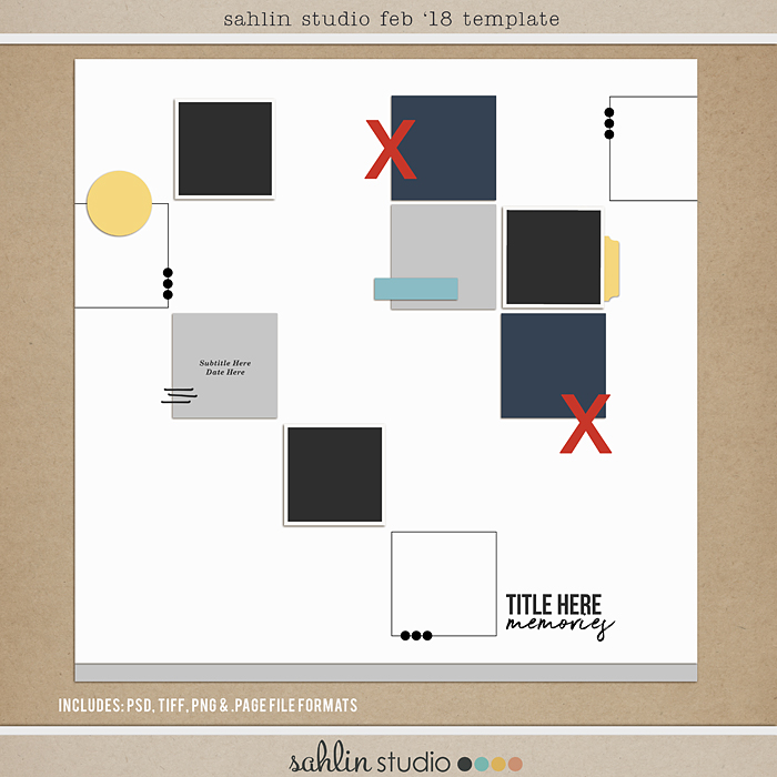 FREE Digital Scrapbooking Template / Sketch – February 2018