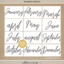 4x6 Monthly Cards No.1 by Sahlin Studio - Perfect for your 2018 Project Life albums!!