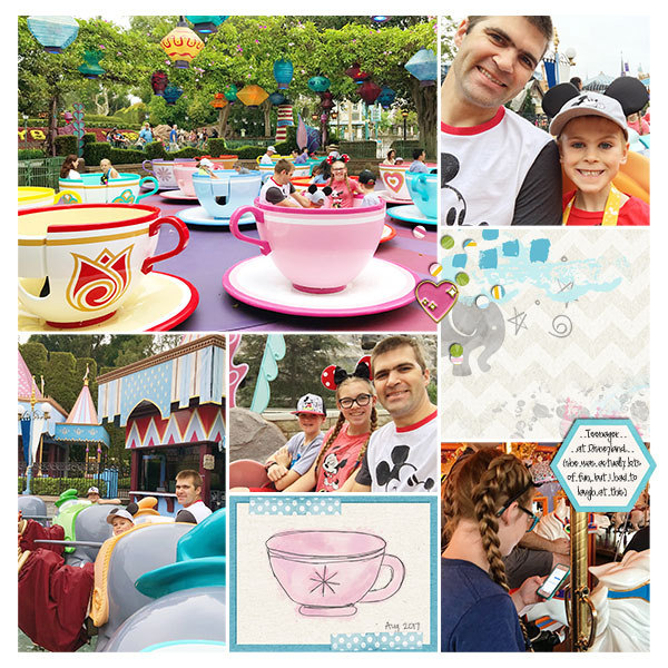 Disney Dumbo Tea Cups Fantasyland digital scrapbooking page using Project Mouse (Fantasy): Enamel PIns and Artsy by Britt-ish Designs and Sahlin Studio