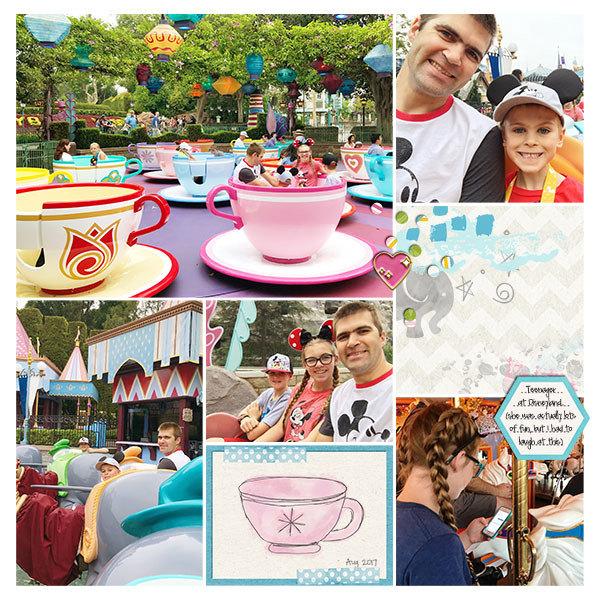 Disney Dumbo Tea Cups Fantasyland digital scrapbooking page using Project Mouse (Fantasy): Enamel PIns and Artsy by Britt-ish Designs and Sahlin Studio