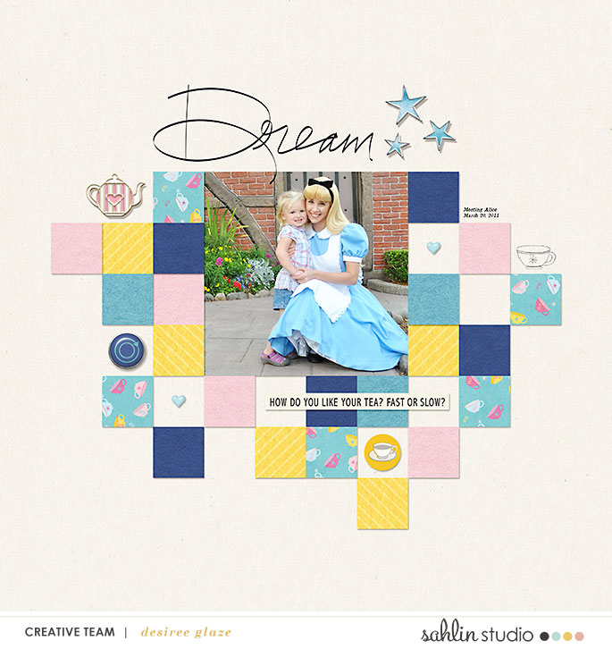 Disney Meeting Alice digital scrapbooking page using Project Mouse (Fantasy): Enamel PIns and Artsy by Britt-ish Designs and Sahlin Studio