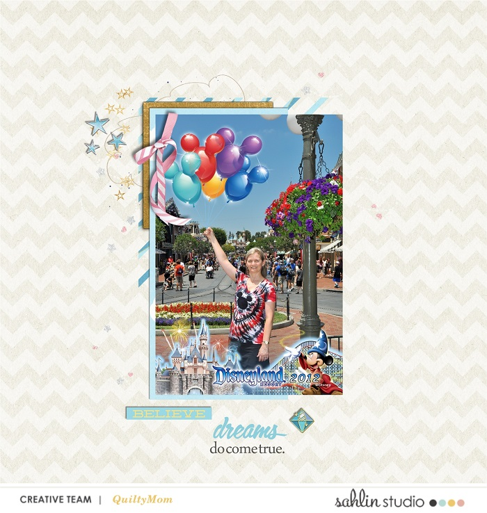 Disneyland digital scrapbooking page using Project Mouse (Fantasy): Enamel PIns and Artsy by Britt-ish Designs and Sahlin Studio