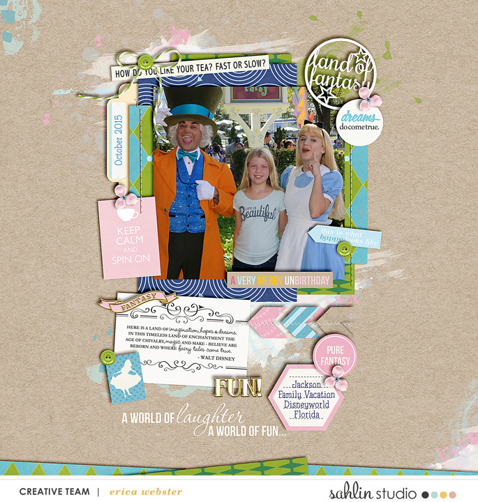 Disney Meeting Alice and Mad Hatter digital scrapbooking page using Project Mouse (Fantasy): Enamel PIns and Artsy by Britt-ish Designs and Sahlin Studio