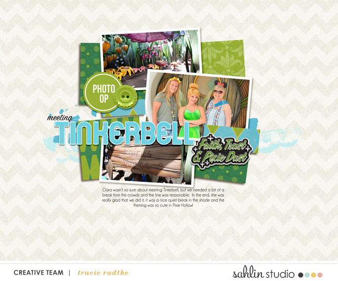 Meeting Tinkerbell digital scrapbooking page using Project Mouse (Fantasy): Enamel PIns and Artsy by Britt-ish Designs and Sahlin Studio