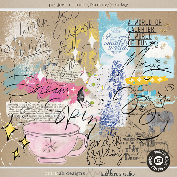 Project Mouse (Fantasy): Artsy by Britt-ish Designs and Sahlin Studio - Perfect for adding layers of messy, playful fun to your pages! Filled with bits of paint & doodles, scatters & confetti, and a bunch of scribbly word art.