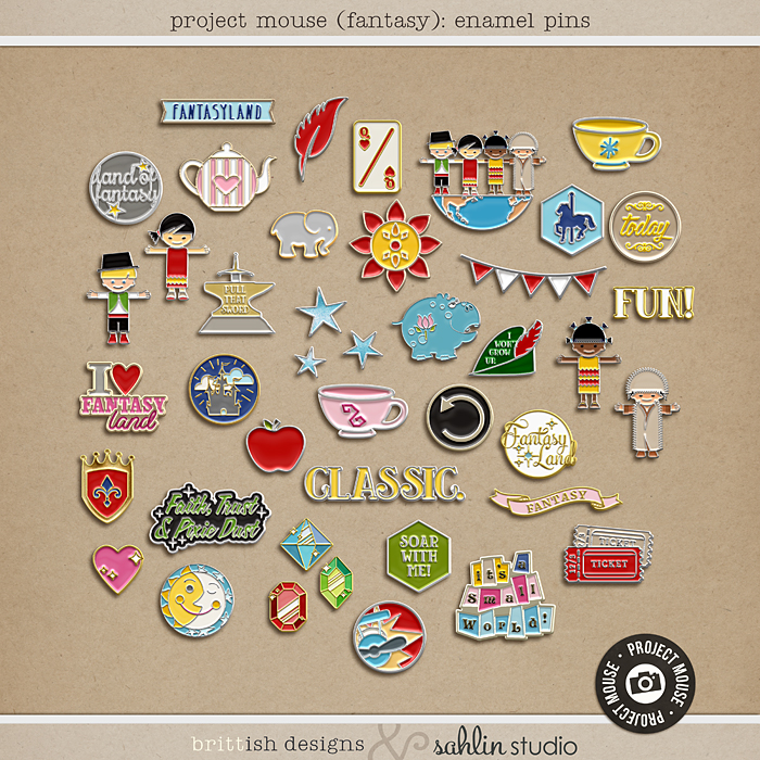 Project Mouse (Fantasy): Artsy by Britt-ish Designs and Sahlin Studio - Reminiscent of the enamel trading pins that we all seem to collect on our backpacks, jackets and lanyards. Perfect for your Disney scrapbooking pages.