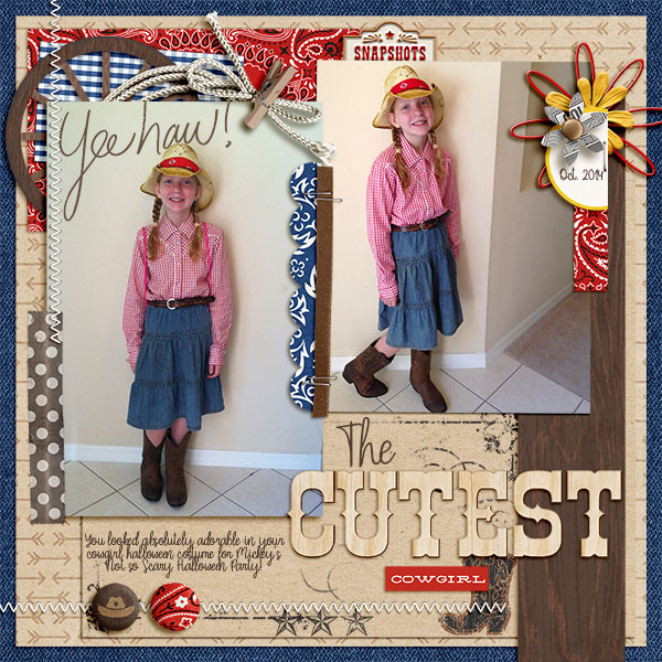 Cowgirl digital scrapbooking page using Project Mouse (Frontier): Enamel Pins & Artsy by Britt-ish Designs and Sahlin Studio