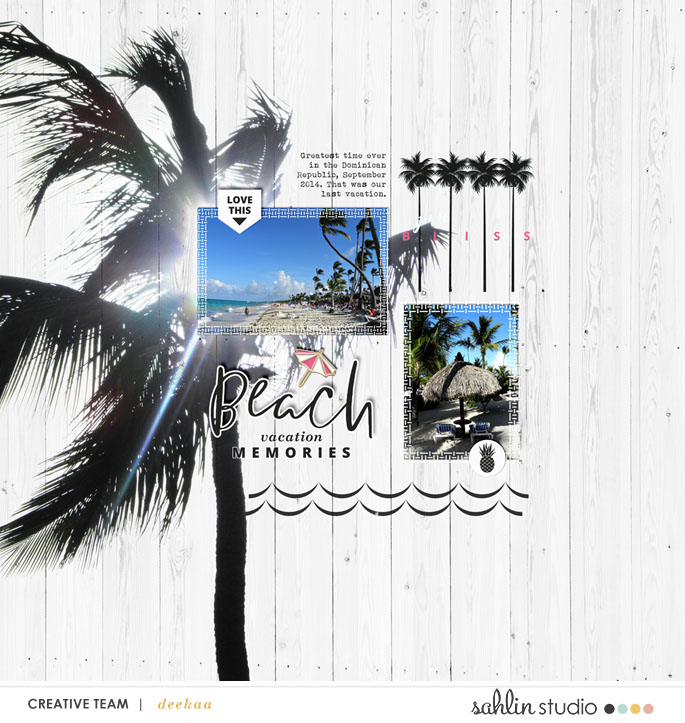 Beach digital scrapbooking page Project Mouse (Paradise) by Britt-ish Designs and Sahlin Studio