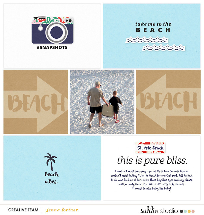Beach digital project life page using Project Mouse (Paradise) by Britt-ish Designs and Sahlin Studio