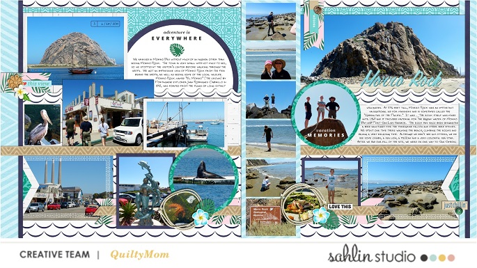 Vacation memories digital scrapbooking double page using Project Mouse (Paradise) by Britt-ish Designs and Sahlin Studio