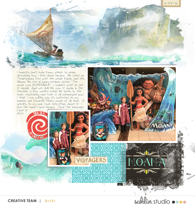 Moana digital scrapbooking page using Project Mouse (Paradise) by Britt-ish Designs and Sahlin Studio
