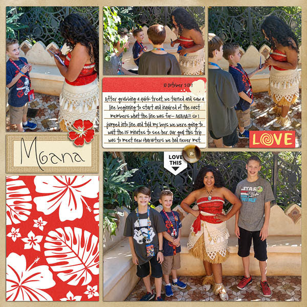 Moana meet and greet project life page using Project Mouse (Paradise) by Britt-ish Designs and Sahlin Studio