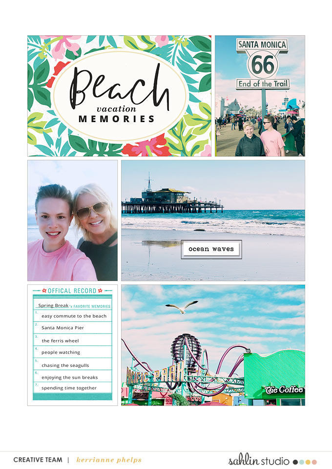 Beach digital project life double page using Project Mouse (Paradise) by Britt-ish Designs and Sahlin Studio