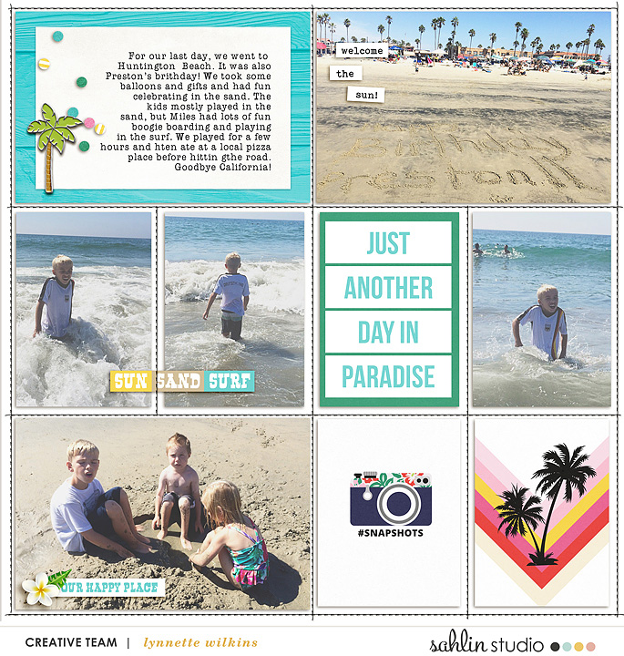 Sun and Surf digital project life page using Project Mouse (Paradise) by Britt-ish Designs and Sahlin Studio