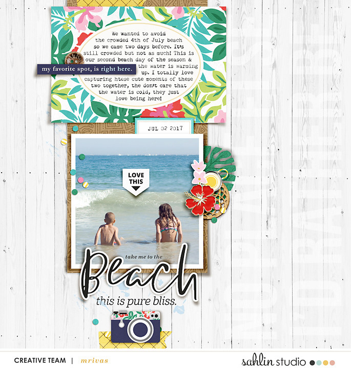 Beach digital scrapbooking page using Project Mouse (Paradise) by Britt-ish Designs and Sahlin Studio