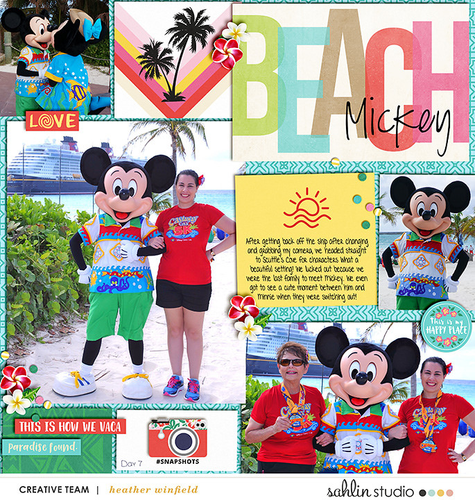Mickey meet and greet digital scrapbooking page using Project Mouse (Paradise) by Britt-ish Designs and Sahlin Studio