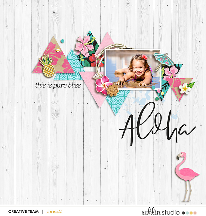 Aloha digital scrapbooking page using Project Mouse (Paradise) by Britt-ish Designs and Sahlin Studio