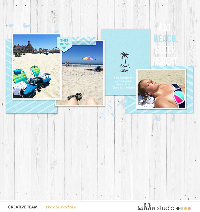 Beach vibes digital scrapbooking page using Project Mouse (Paradise) by Britt-ish Designs and Sahlin Studio