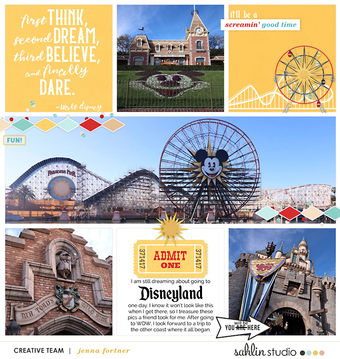 Disney Digital project life page using Project Mouse (Boardwalk): Elements by Britt-ish Designs and Sahlin Studio