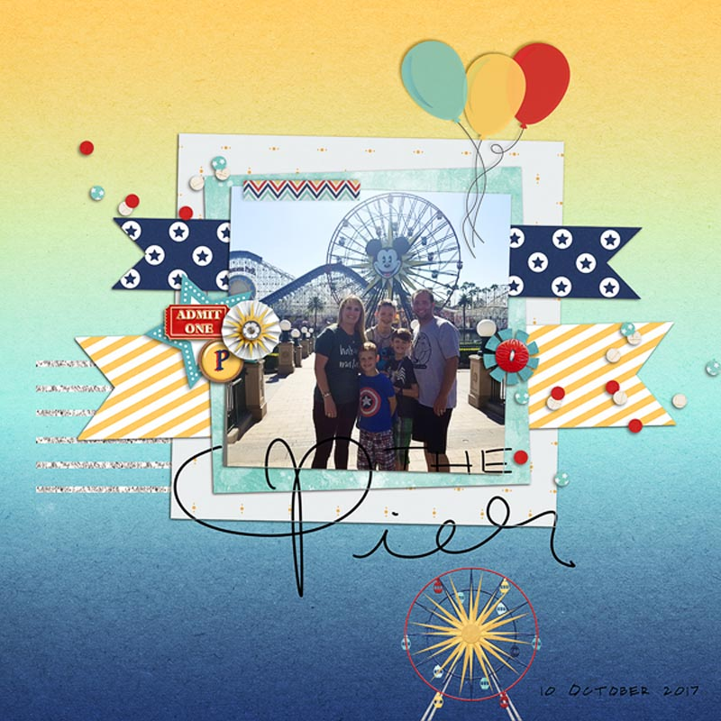 Disney Digital scrapbooking page using Project Mouse (Boardwalk): Elements by Britt-ish Designs and Sahlin Studio