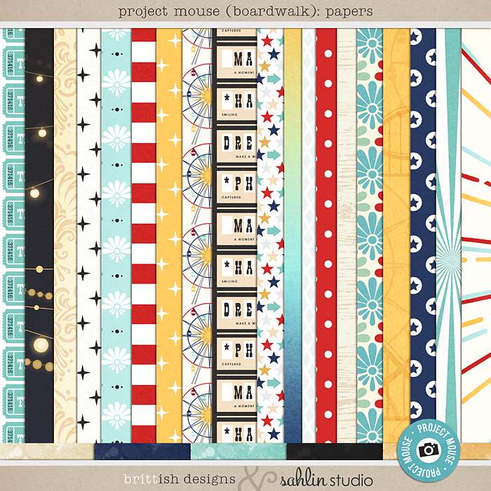 Project Mouse (Boardwalk): Papers by Britt-ish Designs and Sahlin Studio - Perfect for documenting your Project Life and Disney albums!!
