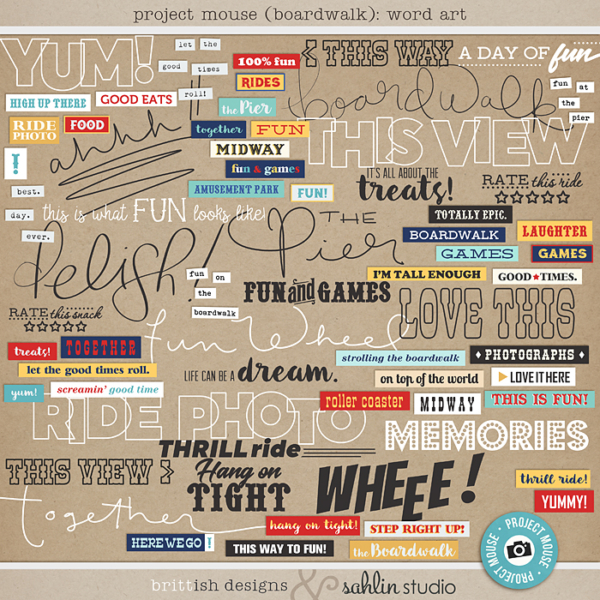 Project Mouse (Boardwalk): Word Art by Britt-ish Designs and Sahlin Studio - Perfect for documenting your Project Life and Disney albums!!