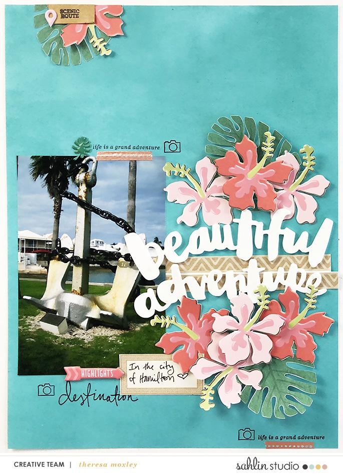 Sahlin Studio Creative Team Theresa Moxley | Bermuda Honeymoon Album Creating Hybrid Embellishments